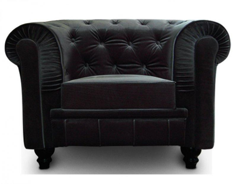 fauteuil chesterfield royal en velours noir capitonne. Black Bedroom Furniture Sets. Home Design Ideas
