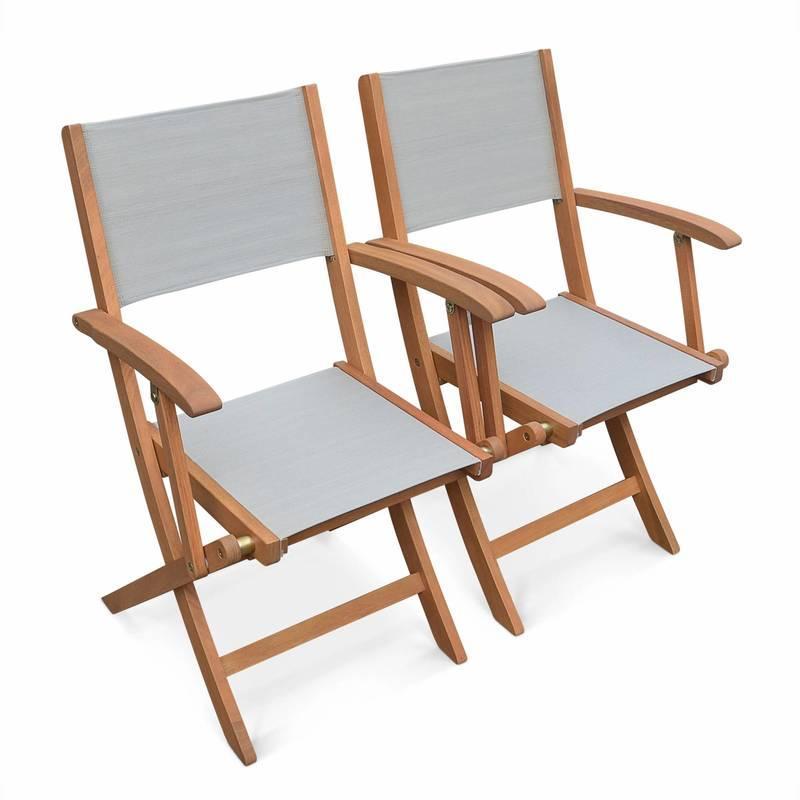 Lot de 2 fauteuils de jardin en bois