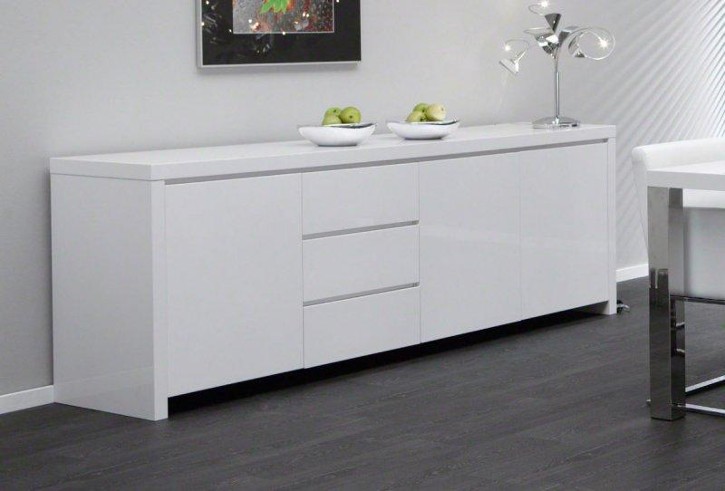 Buffet design laque blanc 3 portes 3 tiroirs for Buffet salle a manger blanc design