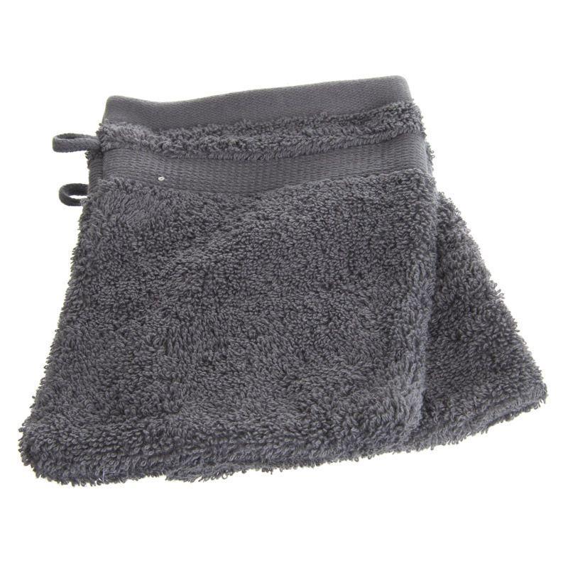 Lot de 2 gants de toilette confort 15x21cm gris anthracite
