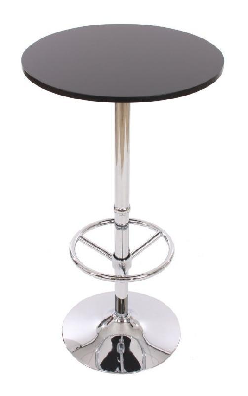 TABLE HAUTE DE BAR BISTROT AVEC REPOSE-PIED 109 CM NOIR