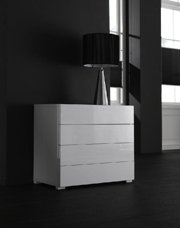 white commode basse blanc laquee design 4 tiroirs. Black Bedroom Furniture Sets. Home Design Ideas