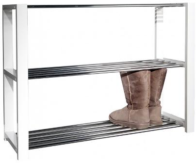 Meuble A Chaussure Bois Et Metal.Meuble De Chaussures Design En Bois Mdf Et Metal Coloris Blanc