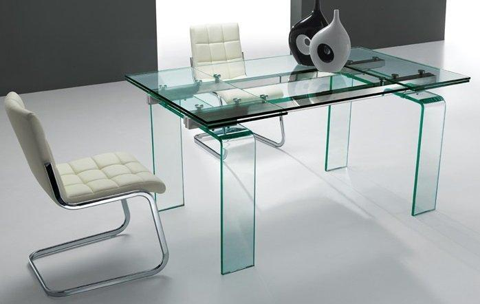 Table de repas aero verre transparent extensible jusqu 39 a for Table extensible 18 couverts