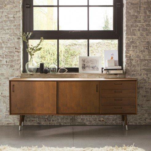 buffet en teck 200 magda 50 39 s. Black Bedroom Furniture Sets. Home Design Ideas