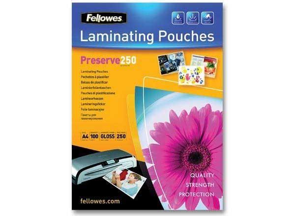 pochettes de plastification chaud a4 epaisseur 2x250 neuf fellowes comparer les prix. Black Bedroom Furniture Sets. Home Design Ideas