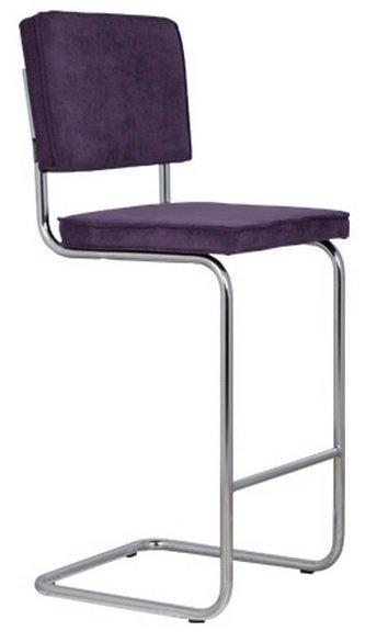 Chaise De Bar Zuiver Ridge Rib En Velours Coloris Violet