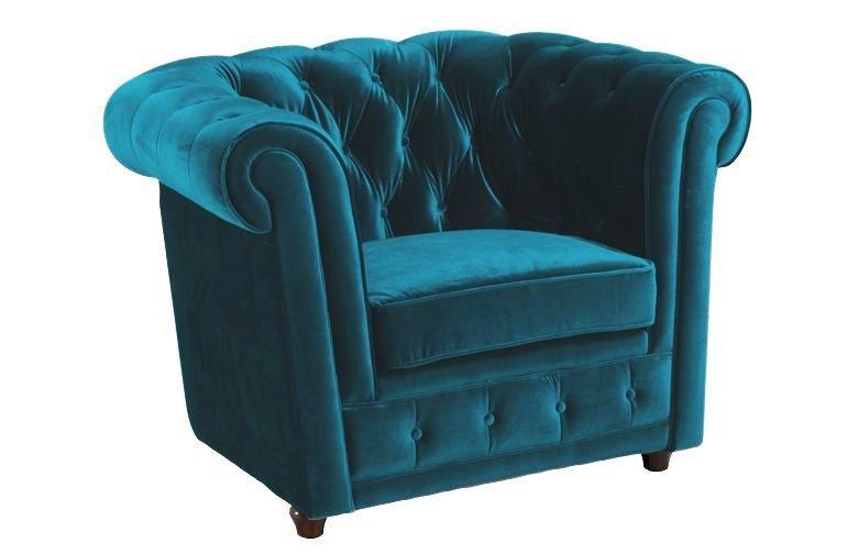fauteuil chesterfield deluxe en velours turquoise capitonne. Black Bedroom Furniture Sets. Home Design Ideas