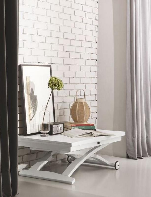 Calligaris Table Basse Relevable Extensible Italienne Mascotte Blanche