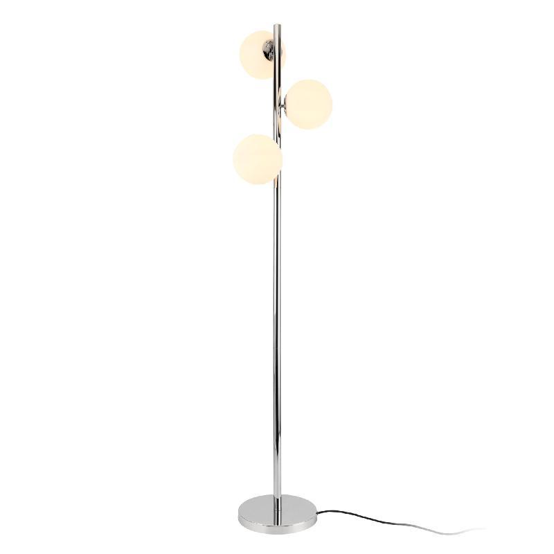 Lampadaire lampe à pied lampe sur pied métal et verre 3 x e14 154 cm chrome et blanc 03_0002438