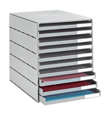module de classement styro val 10 tiroirs ouverts couleur styro comparer les prix de module de. Black Bedroom Furniture Sets. Home Design Ideas
