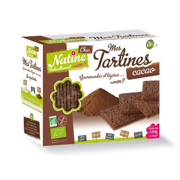 NATINE MES TARTINES CACAO BIO 160G TARTINES CRAQUANTES, BISCOTTES