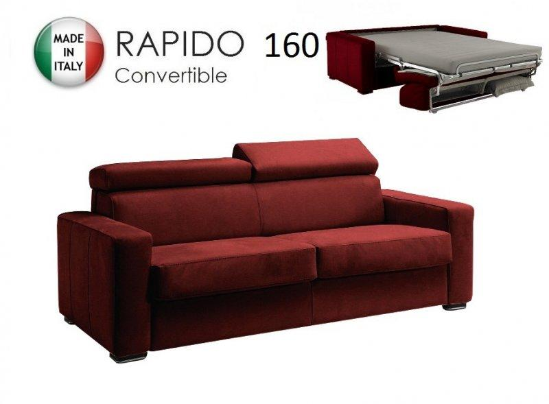 canape rapido sidney deluxe cuir vachette bordeaux matelas 14 cm couchage quotidien 160 cm. Black Bedroom Furniture Sets. Home Design Ideas
