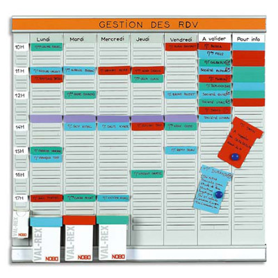 PLANNING À FICHES ACCO EN T OFFICE PLANNER - 7 BANDES DE 24 FICHES