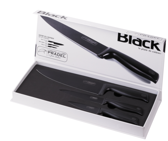 coffret 3 couteaux de cuisine black pradel jean dubost. Black Bedroom Furniture Sets. Home Design Ideas