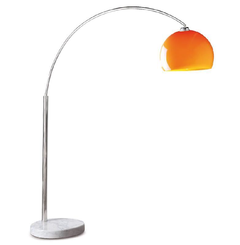 Lampadaire design en arc 39 big bow small 39 abat jour orange for Candelabre exterieur design