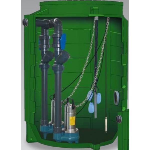 Poste de relevage sortie d'habitation (2 pompes) pour eaux chargées (e.u. / e.v. / e.p.) - rmvcalidouble 2gqsm 50ca