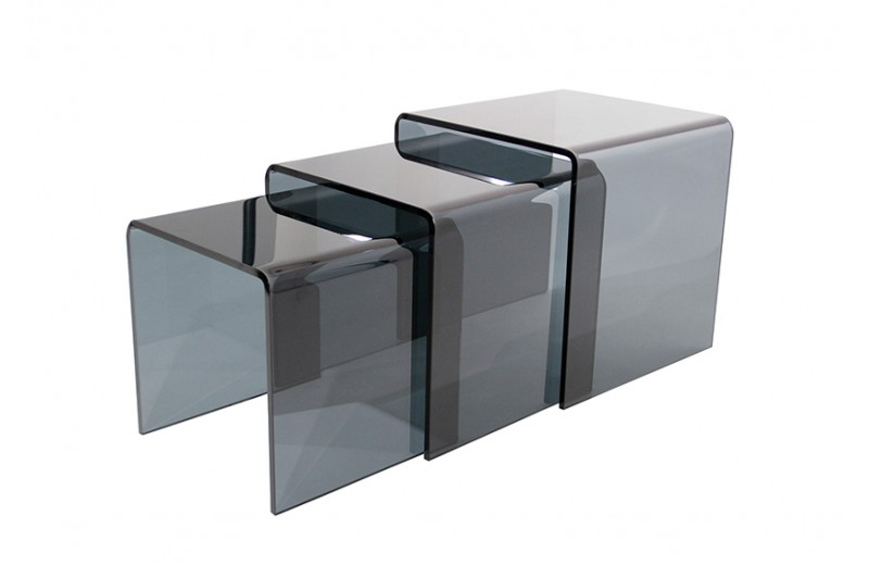 Table basse en verre fume - Table basse gigogne verre ...