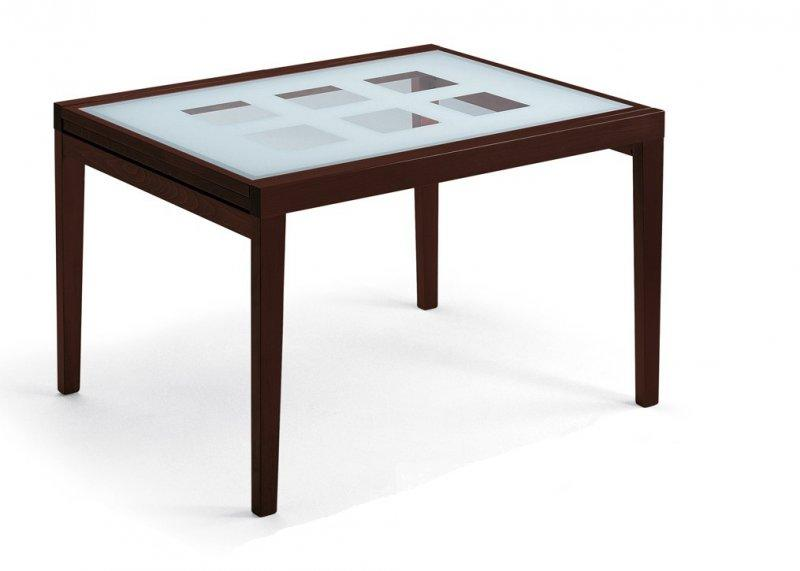 Table poker extensible 120 90 bois wenge plateau verre for Table salle a manger wenge