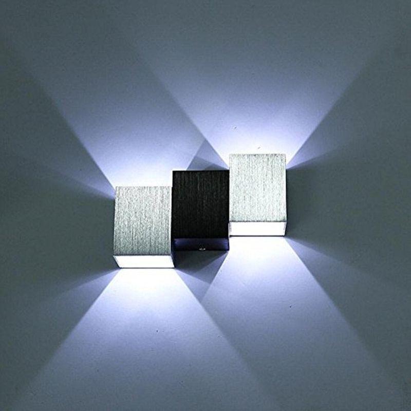 APPLIQUE MURALE LED 6W INTÉRIEUR LAMPE MURALE MODERNE CARRÉ UP DOWN EN ALUMINIUM ECLAIRAGE DÉCORATION LUMIÈRE POUR CHAMBRE A COUCHER BUREAU LIT COULOIR SALON HÔTEL BAR - BLANC FROID - STOEX