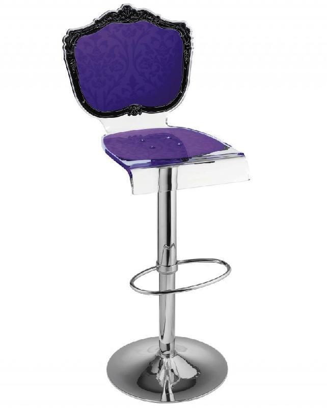 Tabouret Chaise De Bar Baroque Violet Plexiglass Acrila
