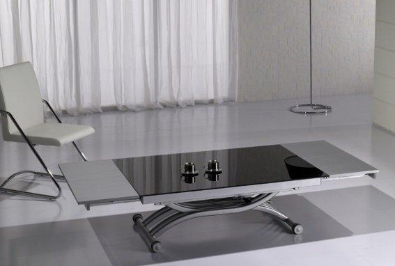 Table Basse Form Relevable Extensible Plateau En Verre Noir
