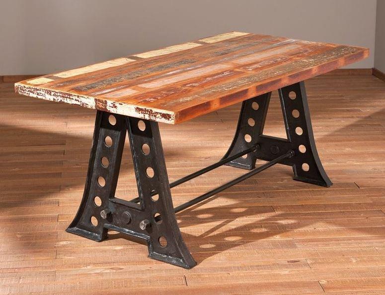 table repas unique amar en bois de manguier recycle et acier. Black Bedroom Furniture Sets. Home Design Ideas