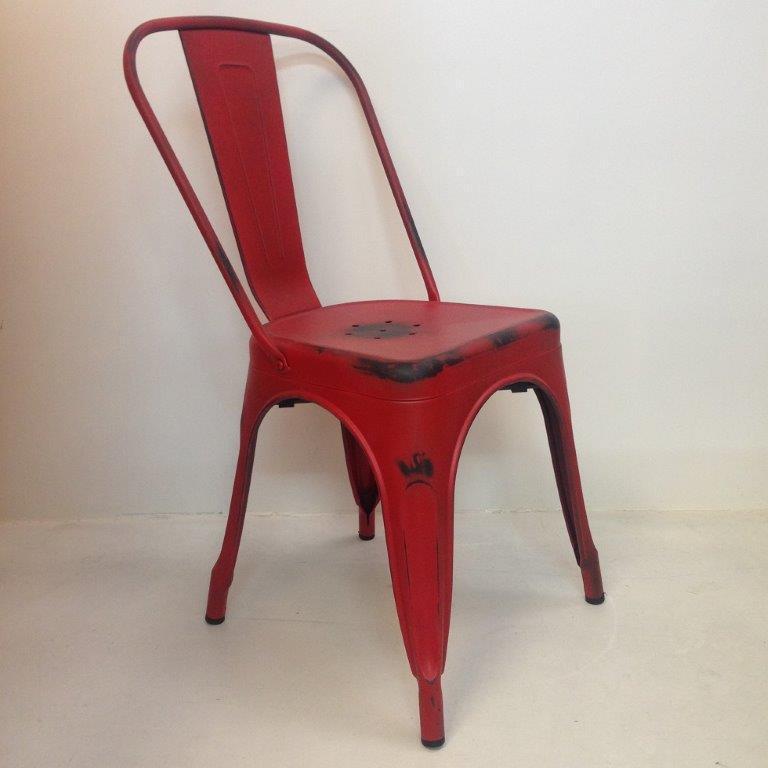 Chaise en metal factory - edition vintage - rouge