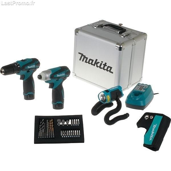 coffret 2 machines hp330dwe td090dwe et lampe ml101 makita dk1486x. Black Bedroom Furniture Sets. Home Design Ideas
