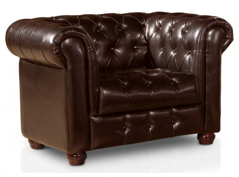 fauteuil chesterfield vintage simili cuir marron capitonne. Black Bedroom Furniture Sets. Home Design Ideas