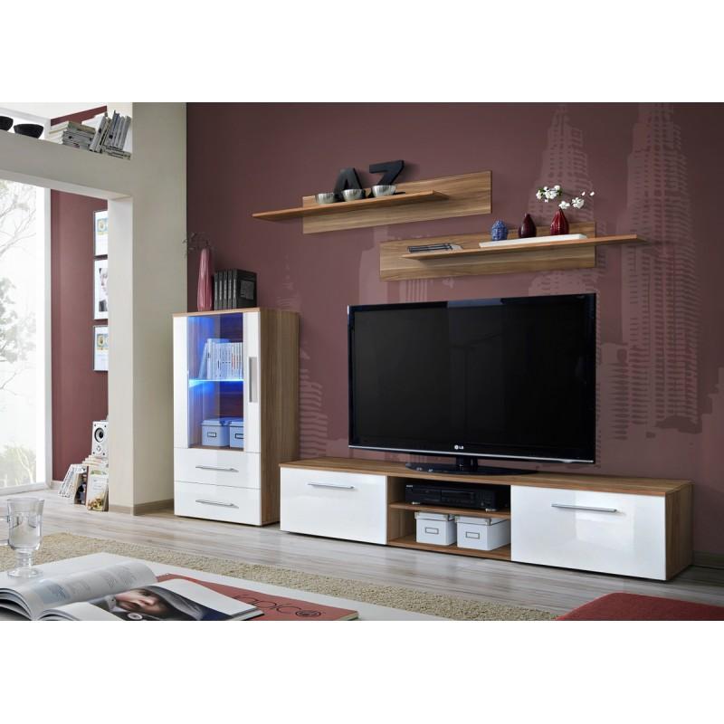 MEUBLE TV DESIGN GALINO VIII 250CM PRUNIER & BLANC - PARIS PRIX