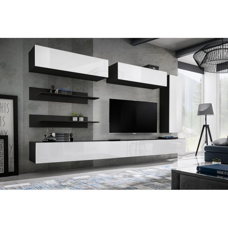 Meuble Tv Mural Design Fly Xv 320cm Blanc Noir Paris Prix