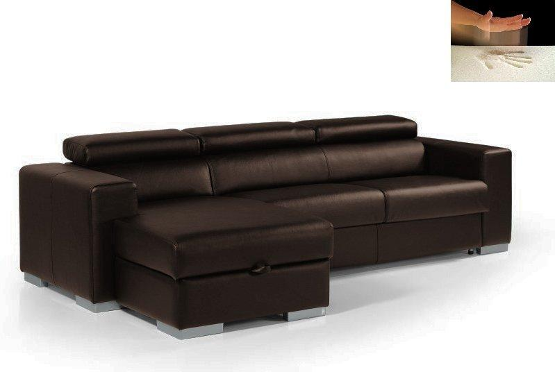 canape d 39 angle rapido sidney memory couchage quotidien 140cm coffre cuir vachette marron. Black Bedroom Furniture Sets. Home Design Ideas