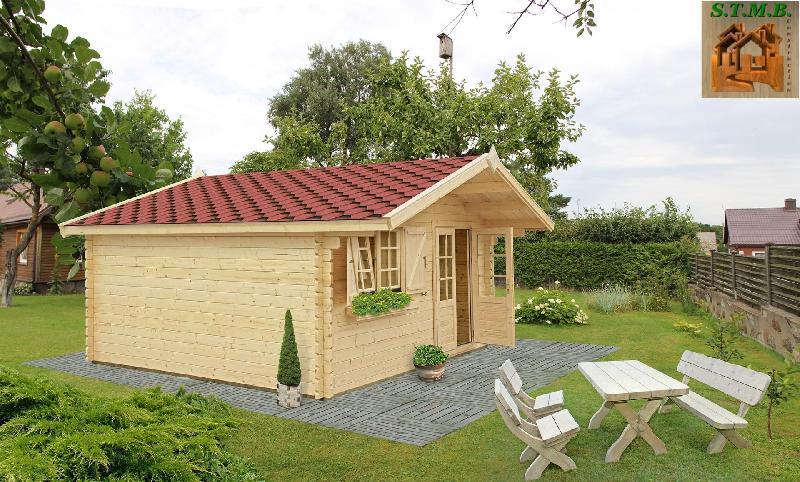 Chalet en bois plain-pied Laurier 20 / madrier 44 mm / 20 m² / en kit / toit double pente