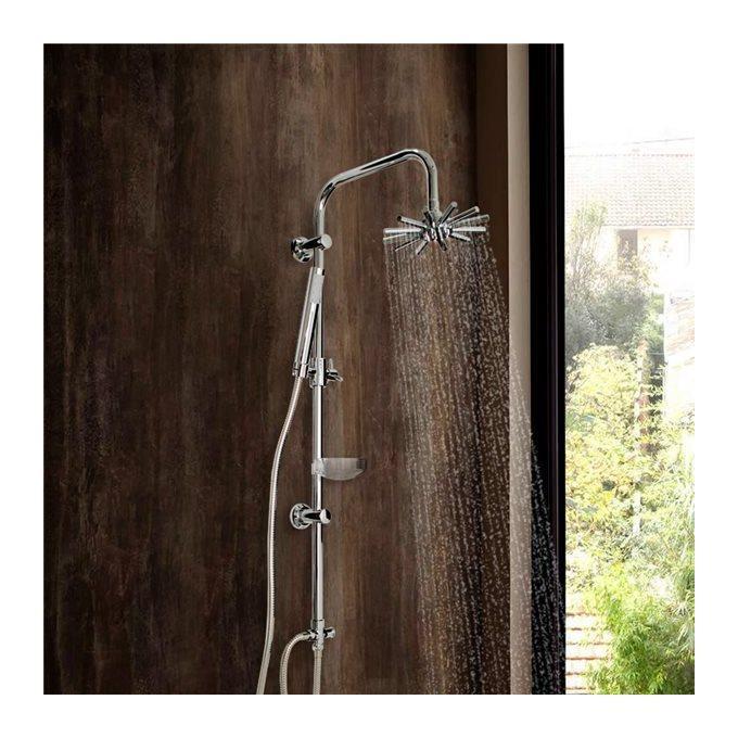 colonne de douche design en inox chrom avec flexible douchette et pommeau toile essebagno. Black Bedroom Furniture Sets. Home Design Ideas