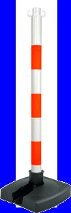 Poteau PVC Orange fluo/Blanc BI-POSE sur socle lesté 4kg - 2002356