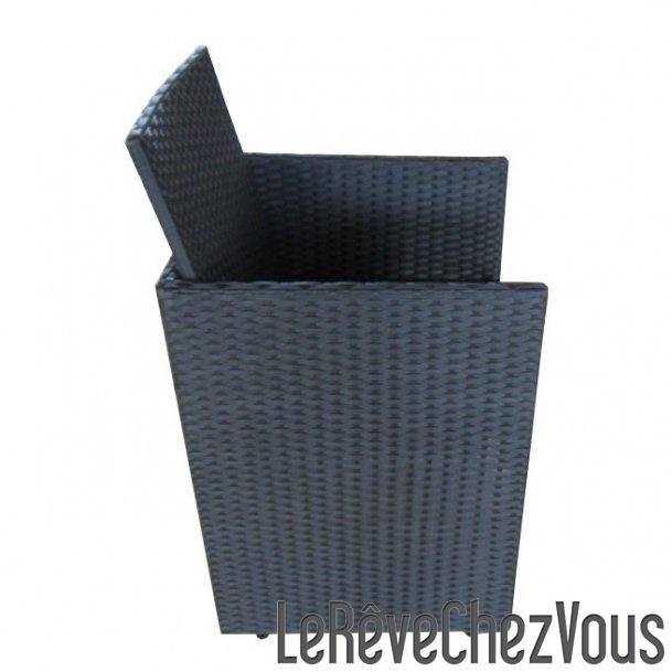 fauteuil encastrable avec dossier rabattable en r sine tress e coloris noir comparer les prix de. Black Bedroom Furniture Sets. Home Design Ideas