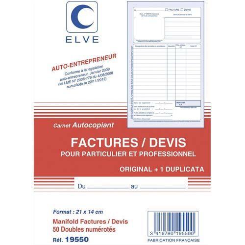 MANIFOLD FACTURES / DEVIS ENTREPRENEUR AUTOCOPIANT FORMAT 210X140MM. 50 FEUILLETS DUPLI ELVE