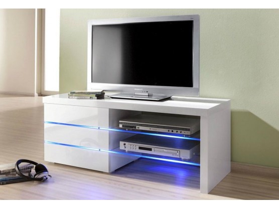 meuble tv a led blanc laque logan 110 cm
