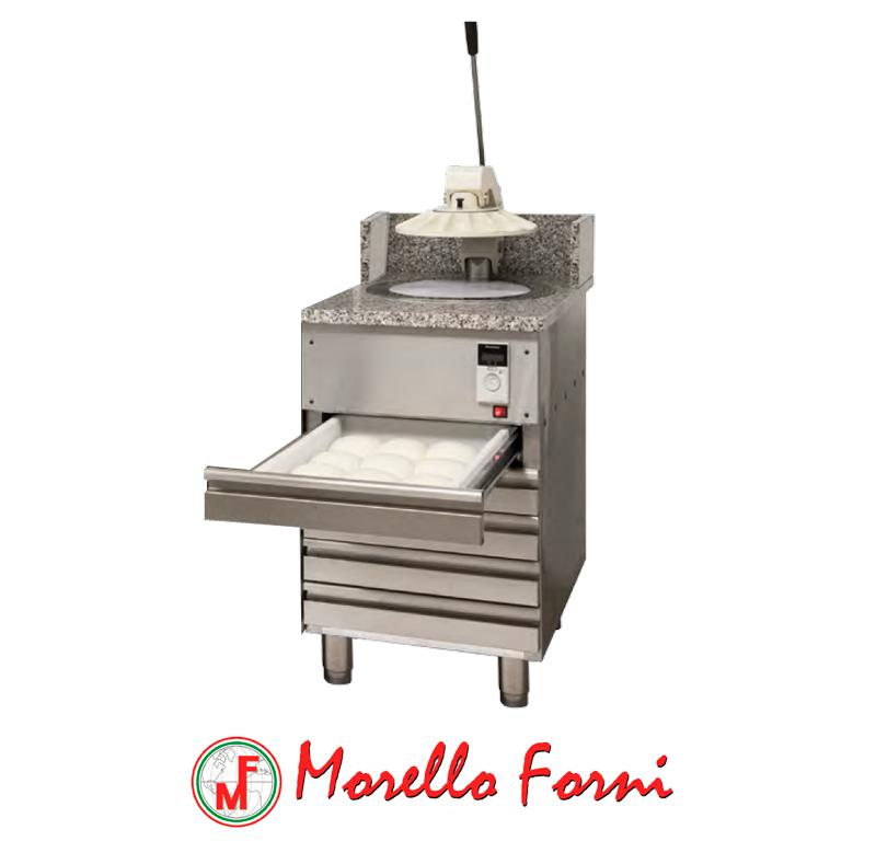 Morello forni - formeuse semi-automatique pizzarella sur meuble 6 tiroirs