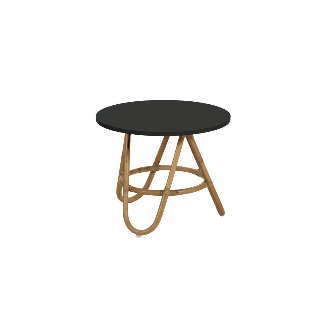 Table basse en rotin diabolo plateau noir - Table basse en rotin ...