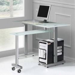 Table d'ordinateur en verre wheeley