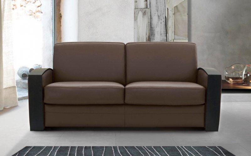 canape lit systeme rapido molitor cuir marron avec accoudoirs en bois couchage quotidien 120 14cm. Black Bedroom Furniture Sets. Home Design Ideas