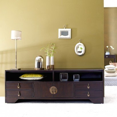 meuble tv en acajou 150 multimedia yong. Black Bedroom Furniture Sets. Home Design Ideas
