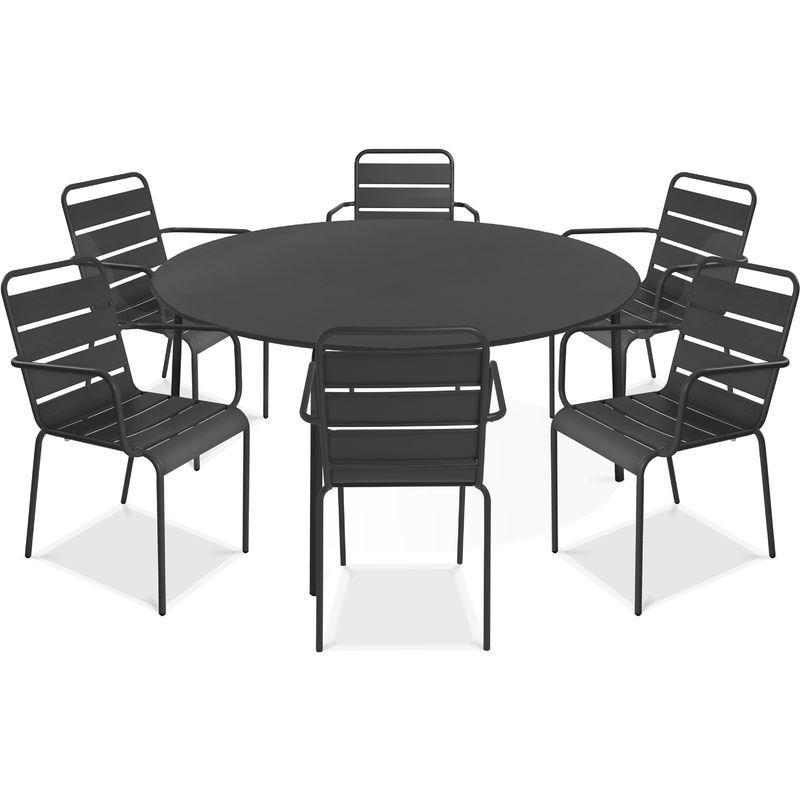 TABLE DE JARDIN CARRÉE EN MÉTAL - ORANGE - OVIALA Comparer les prix ...