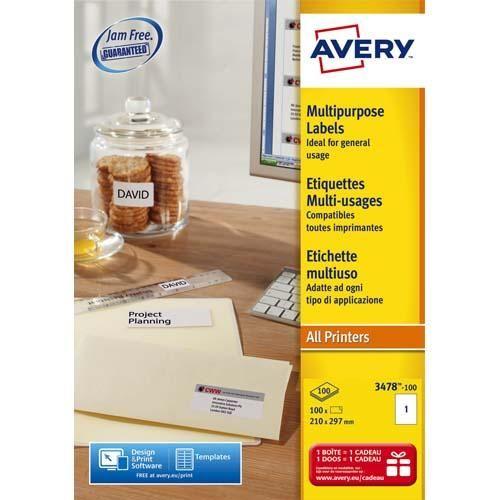 Avery boîte de 100 étiquettes blanches multi usages 210x297mm - pour laser. jet d'encre et copieur