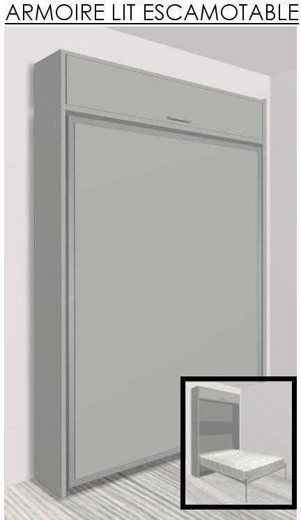armoire lit escamotable eos gris mat couchage 140 22 190 cm. Black Bedroom Furniture Sets. Home Design Ideas