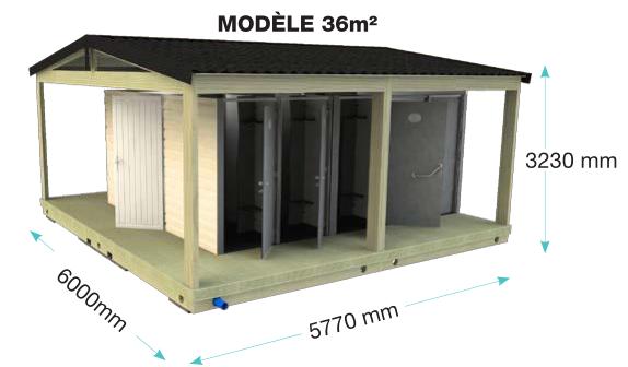 Sanitaires publics extérieurs pmr brehat plus / 4 wc / 3 douches / 9 cabines / 5.77 x 6 x 3.23 m