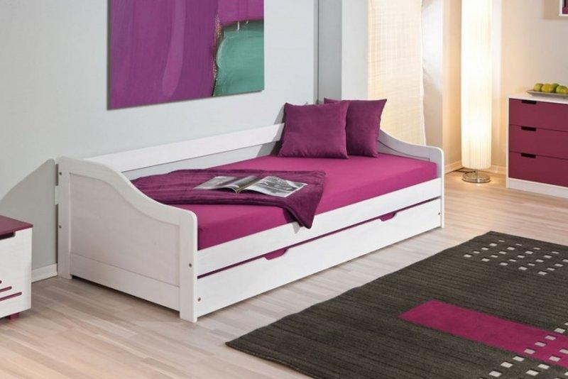 lit gigogne leonie en pin massif blanc couchage 90 x 190 cm comparer les prix de lit gigogne. Black Bedroom Furniture Sets. Home Design Ideas