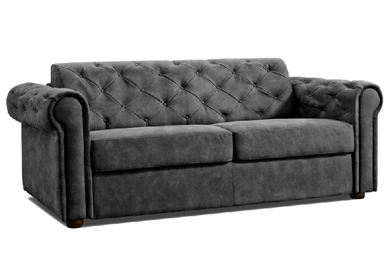 canap lit 3 4 places chesterfield express convertible ouverture rapido 160 cm velours gris. Black Bedroom Furniture Sets. Home Design Ideas